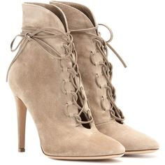 Gianvito Rossi Empire Lace-Up Suede Ankle Boots ($1,065) ❤ liked on Polyvore featuring shoes, boots, ankle booties, beige, beige ankle boots, short boots, bootie boots, lace up booties and beige booties