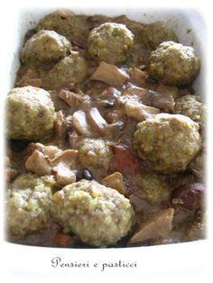 Polpette di Manzo e Maiale con Salsa di Funghi e Cipolla