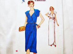 1980s Wrap Dress Pattern Vogue Misses size by PatternsFromThePast