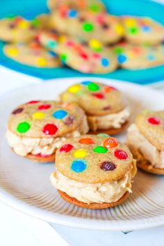 mini rainbow M cookies with peanut butter buttercream