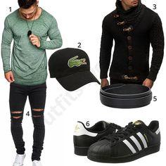 Schwarz-Grünes Herren-Outfit mit Strickjacke (m0603)