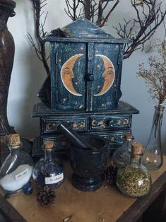 little bit of Altar Inspiration. - hecoHere a little bit of Altar Inspiration. - heco Witch Home Interior Decorating Ze Fairy Godmother's potions Witch Craft, Witch Decor, Pagan Decor, Spiritual Decor, Boho Home, Witch House, Witch Cottage, Witch Aesthetic, Aesthetic Yellow