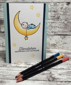 Moon Baby, Doppelt gemoppelt, Stampin' Up!, scraphexe.de Hand Made Greeting Cards, Making Greeting Cards, Baby Shower Cards, Baby Cards, Karten Diy, Baby Bundles, Baby Images, Baby Wedding, Stamping Up Cards