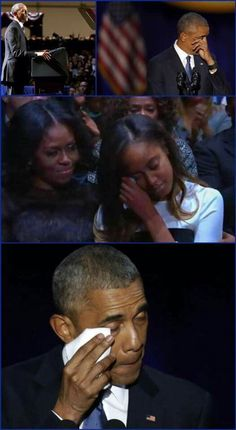 The POTUS' last public address (Jan2017) before his last days in office.. The sweetest part of the speech ever was when tears were shed when he talked about his love  and appreciation for his wife.. The love  support and love of his children.. so touching....
