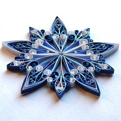 Christmas Decoration...quilled snowflake in blues and white...lovely...