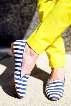 Classy Girls Wear Pearls | bright yellow chinos and navy striped loafers