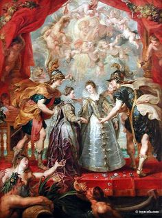 """The Exchange of Princesses at the Spanish Border"" -- -- 1 of 24 in a series commissioned by Marie de Medici, wife of Henry lV of France, for the Luxembourg Palace in Paris -- Peter Paul Rubens -- Flemish -- Oil on canvas -- The Louvre Peter Paul Rubens, Rey Enrique, Rubens Paintings, Oil Paintings, Ludwig Xiv, Louvre Museum, Two Princess, Caravaggio, Old Master"