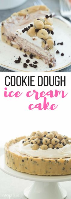 This Cookie Dough Ice Cream Cake is an easy, no bake dessert for a summer cookout or birthday party! Made on a cookie dough crust, filled with no churn ice cream and topped with chunks of cookie dough. Includes step by step recipe video