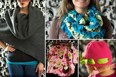 I especially love that scrunchy scarf in the upper right corner.