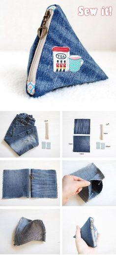 Sewing Jeans Diy Tutorials New Ideas Bag Patterns To Sew, Sewing Patterns Free, Free Sewing, Free Pattern, Denim Bag Patterns, Pouch Pattern, Pattern Sewing, Bag Sewing, Sewing Jeans