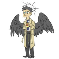 So here's Castiel from Supernatural, the adorkable angel who likes burgers. I figured, why not. Castiel you so Fly Supernatural Angels, Supernatural Drawings, Castiel, Superwholock, Fangirl, Old Things, Doodles, Scribble, Fictional Characters