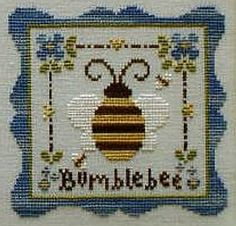 Country Cottage Needleworks Bumblebee (with thread) - Cross Stitch Pattern. Model stitched on Patina Linen from Lakeside Linens. Crescent Colours thread i Cross Stitch Pillow, Cross Stitch Needles, Cross Stitch Heart, Cross Stitch Borders, Cross Stitch Animals, Modern Cross Stitch, Cross Stitch Designs, Cross Stitching, Cross Stitch Patterns