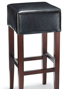 Rhone Black Real Bonded Leather Walnut Frame Bar Stool - No Back