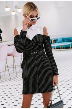Simplee Elegant fake two piece stripe women dress Office lady sash long sleeve mini dress 2018 Autumn winter blazer blouse dress Price: Blazer Dress, Blouse Dress, Sleevless Blazer, White Frock, Frock For Women, Cheap Dresses Online, Mini Robes, Outfit Look, Frock Dress