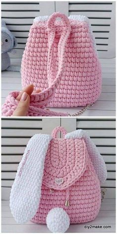 Kawaii Crochet, Cute Crochet, Crochet Baby, Crochet Summer, Crochet Backpack Pattern, Crochet Patterns Amigurumi, Crochet Bag Free Pattern, Diy Crochet Projects, Crochet Crafts