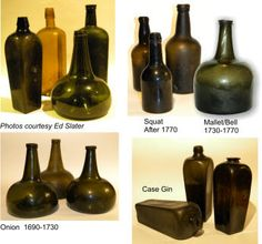 A complete guide finding and identification of antique bottles. Antique Glass Bottles, Antique Glassware, Old Bottles, Vintage Perfume Bottles, Lighted Wine Bottles, Bottle Lights, Black Glass, Raw Materials, Dark Colors