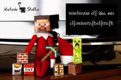 Minecraft - Elf on the Shelf Edition Love Bug turned himself into Minecraft Steve last night. He even has his own teeny tiny diamond pickax! Want some more Elf on the Shelf goodness? Clickhereto...