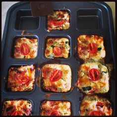 Pampered Chef Brownie Pan bakes individual portions of crustless quiche perfectly.