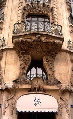 Art nouveau balcony in Geneva.