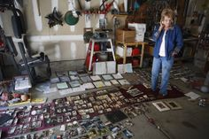 Mary Ellen Briscoe of Longmont Colorado pauses in her garage as she... News Photo 180790086