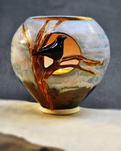 Raven and the Halloween Moon Luminary new from Lee Wolfe Pottery