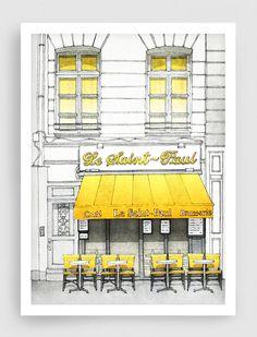 Paris illustration - Le Saint Paul - 5x7 art print, Fine art illustration, Art Posters, Paris art, Paris decor, Wall decor, Yellow