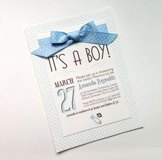 5x7 Boy Themed Baby Shower Invitations with baby blue polka dots. Click to see more!