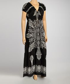 This Black Shirred Scarf Print Maxi Dress - Plus is perfect! #zulilyfinds 21.99