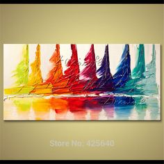 Sailing hand painted canvas oil painting color yacht Boat living room decorative pictures wall stickers home decor abstract art-in Painting & Calligraphy from Home & Garden on Aliexpress.com | Alibaba Group