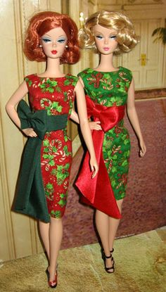 Barbie Christmas Time,  Twins in Red & Green,   Double the Fun!