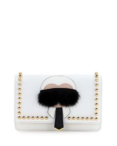 Karlito+Wallet-on-Chain,+White+Multi+by+Fendi+at+Neiman+Marcus. Karl Lagerfeld layered applique.