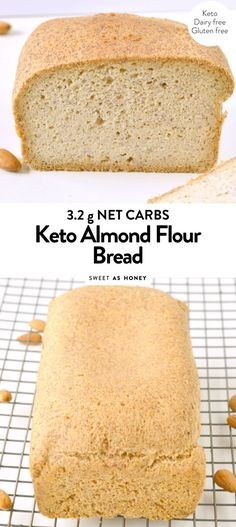 KETO ALMOND FLOUR BREAD is an easy low carb bread loaf recipe with a delicious bread texture and NO eggy flavor! Also, it is paleo and gluten free Keto Bread Coconut Flour, Keto Flour, Almond Bread, Almond Milk, Honey Bread, Sugar Bread, Almond Recipes, Bread Recipes, Low Carb Recipes