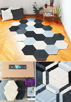 Geometric area rug, hexagonal rug, gray and beige and black rug, recycled product, diy, puzzle rug, modular carpet, modern homedecor #ad #homedecor #rug #modern