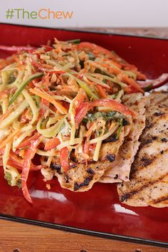 Pair your grilled chicken with this crunchy peanut slaw for a  delicious and refreshing Grilled Chicken with Crunchy Peanut Slaw meal!