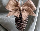 Pinecone Ornament with burlap bow/NEW SIZE