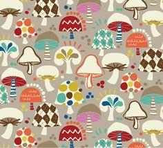 Hoodie - Free Mind - Wild Mushrooms in Gray Retro Fabric, Modern Fabric, Grey Fabric, Fabric Patterns, Print Patterns, Fun Patterns, Vintage Patterns, Mushroom Art, Free Mind