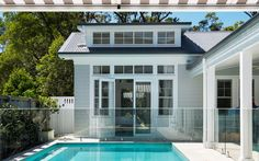 """This home is Hamptons heaven. used Scyon Linea to achieve a Hamptons look that is brand new yet oozes old school charm. See all the details in our case study up now on our site. See the link in bio and click """"Case studies"""" for more. Exterior Colors, Exterior Design, Colorbond Roof, Weatherboard Exterior, Die Hamptons, Modern Pool House, Moderne Pools, Australian Architecture, Wall Cladding"""