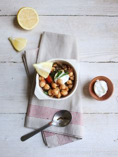 This Chickpea stew has a lot of ingredients but it's easy to cook and delicious. Drained yogurt is made by draining the yogurt in a cheesecloth-lined strainer for several hours. This dish keeps well for a few days in the refrigerator and benefits from being made ahead.  Read more here: http://therecipe.nandoweb.net/chick-pea-stew/#storylink=cpy
