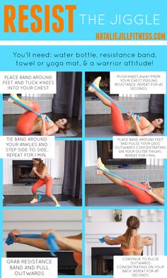 Resist the Jiggle with me! Grab a mat, some water and a resistance band and let's get to work! Click on the image for more of my favorite workouts you can do from home!