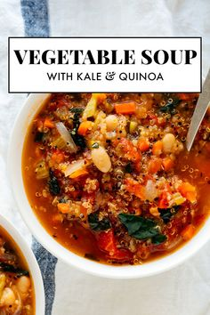 Hypoallergenic Pet Dog Food Items Diet Program This Hearty Quinoa Vegetable Soup Recipe Is Easy To Make And So Good For You, Too Warm Up With A Bowl Tonight, And Bring Leftovers For Lunch Tomorrow Quinoa Vegetable Soup, Homemade Vegetable Soups, Recipe For Vegetable Soup, Soup With Quinoa, Best Veggie Soup, Quinoa Food, Veggie Soup Recipes, Quinoa Salad, Beef Recipes