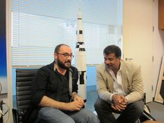 Star Power: Michael Stevens (@tweetsauce), host of Vsauce http://www.youtube.com/vsauce, stops by to visit StarTalk Radio host Neil deGrasse Tyson in Neil's office at The Hayden Planetarium. Notice the official scale model of the Saturn V rocket between them. That's not a plastic model kit, boys and girls.