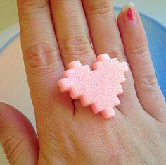 Pixel Heart Ring  Video Game 1 up Life Kawaii by XKawaiiCutieX