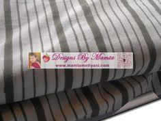 Cotton Block Print Fabric India Cream Olive Green Monaco Stripes