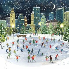 city winter scene at night *NEW* The Art Group 'City Life' Cards - Clair Rossiter illustration Christmas Drawing, Christmas Art, Xmas, Modern Christmas, Christmas Ice Skating, Christmas Landscape, Christmas Projects, Christmas Cookies, Winter Illustration