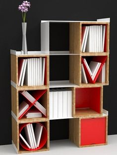 Open wooden #bookcase POSYCUB by MARILEME