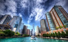 Download Wallpapers Chicago Hdr Skyscrapers Motor Ship River Illinois