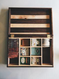 Tea lovers box in walnut.  https://www.etsy.com/listing/263499743/reclaimed-black-walnut-and-maple-tea-box