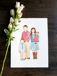 Custom 4-Person Watercolor by CamillesPaintShoppe on Etsy