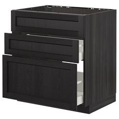 METOD black, Lerhyttan black stained, Base cab f drawers, cm. Drawer Rails, Drawer Fronts, Cabinet Drawers, Filing Cabinet, Built In Ovens, Black Stains, Base Cabinets, Closets, Doors