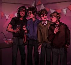 Marauders New Years party by Art of Pan.  ** everything except the smoking... I feel like James would be the person you would expect to smoke on first sight, but actually walks around and smacks them out of people's hands before delivering a 10 minute lecture to the student. You never wanted to be the person he caught.